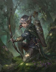 f Wood Elf Ranger Med Armor Longbow deciduous forest hills ArtStation - Harvest, Livia Prima Fantasy Kunst, High Fantasy, Fantasy Rpg, Medieval Fantasy, Fantasy Artwork, Daily Fantasy, Fantasy Women, Fantasy Character Design, Character Design Inspiration