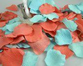 Coral and Sea Breeze Aqua Rose Petals | 200 Artificial Petals | Beach Wedding | Destination | Flower Girl Basket Petals - Table Scatter