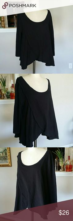 Free People Long Sleeve Black Top Size medium  Euc worn a couple of times very gently.  Long sleeve  Drape front super cozy sweater like cotton. Free People Tops