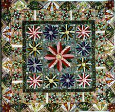 Jubilee Patchwork Quilt 1887 Applique Fans and flowers.  Quilt Museum - York