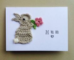 Handmade 'Mum' Bunny Crochet Greeting Card by Boobellini on Etsy, £3.75