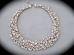 I need this for real life purposes - Swarovski Crystal Mosaic Bridal Statement Necklace
