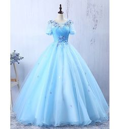 Light Blue Formal Evening Dress A-line Floor-length Prom Dress with Appliques,812708 by Dress Storm, $229.00 USD