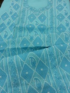 Exclusive lucknavi chikan cotton suit length with fine murri work along with pure chiffon  #lucknow #chikankari $52.99