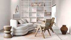 """Zo werkt de look """"Artsy Living"""". Natuurlijk, gezellig en creatief! Geïnspireerd door de diversiteit van de natuur, hebben we een look ontworpen die een moderne bries in huis brengt. De focus ligt op een mix van organische en duidelijke lijnen, artistieke kunstdetails en architectonische vormen voor een opwindend contrast. Voor dez… Outdoor Lounge, Sissi, Elle Decor, Bookcase, Artsy, Shelves, Spring Summer, Living Room, Inspiration"""