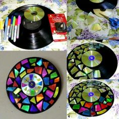 Try this, coloring the cd pieces with sharpie.