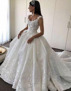 Lace Flowers Appliques Wedding Dresses,Ball Gowns Bridal Dresses