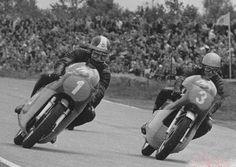 "tulikas: ""1960 Bill Ivy on Jawa-V4 fights with Giacomo Agostini on MV-3 350cc Dutch TT Assen """