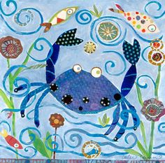 """""""Blue Crab"""" Stretched Canvas Art by Carter Carpin for Oopsy Daisy, Fine Art for Kids size 14x14"""