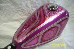 "FlameThrowerCustoms: Glittery Pink ""Sportster 48"" Tank for Amy in Minnesota"