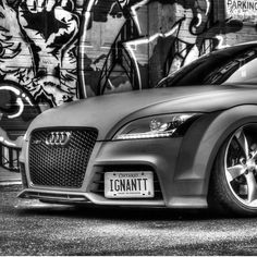 Front end Friday. This is an old black and white edit of a shot done @frozenfraim at our first shoot. . . . #graffiti #graffitiart #alley #graffitiphotography #photography #picoftheday #photooftheday #mycar #wrappedcars #vinylwrap #redcar #redcars #audi #auditt #auditts #audittrs #audirs #ttrs #mattered #matte #turbo #boost #slammed #bagged #frontendfriday #flashbackfriday #flashbackfridays #blackandwhite #blackandwhiteonly #blackandwhitechallenge