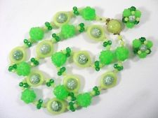 WEST GERMANY Crackled Green Plastic Boho Funky Necklace Earring Set - SB2288