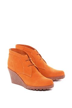 wedge bootie in ruw leer CASUAL - Esprit Online-Shop Boutique Esprit, Casual, Girly, Wedge Bootie, Wedges, Shopping, Orange, Shoes, Fashion