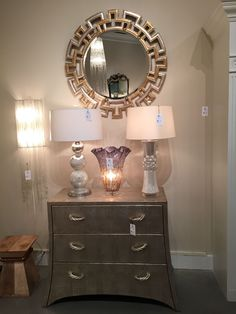"""Beautiful """"mixed metals"""" chest and mirror from Bradburn Gallery.  #BradburnGallery #chest #mirror"""