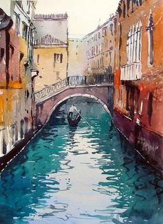 Venice canal, watercolor by Tim Wilmot