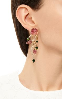 14K Yellow Gold Carved Tourmaline & Diamond Earrings by Madhuri Parson for Preorder on Moda Operandi