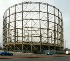 A Beautiful Gasometer in Manchester on Alan Turing Way. Gasometers in the UK have become nostalgic landmarks. Click on the picture to read the article.
