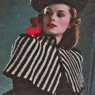 Vintage knitting patterns- vintage 1940s knitting pattern for stylish striped shoulder cape pdf download