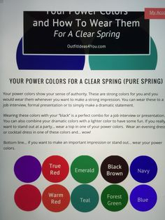 Spring Color Palette, Spring Colors, Color Palettes, Clear Spring, Bright Spring, Core Wardrobe, Capsule Wardrobe, Seasonal Color Analysis, Power Colors