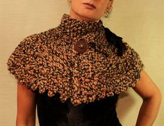 Chocolate Cake / Hand Knit Crochet Cape Poncho  / by lilithist, $110.00