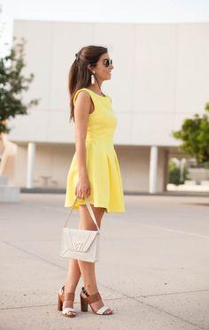 Yellow open back textured skater dress