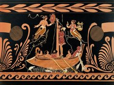 Ulysses and the Sirens, illustration from an antique Greek vase