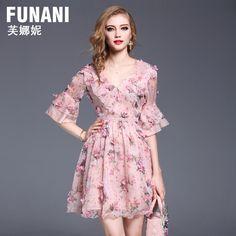 푸 나니 컬러 쉬폰 드레스 여성 2017 여름 새로운 패션 얇은 혼 슬리브 V 넥 긴 단락 스커트이었다