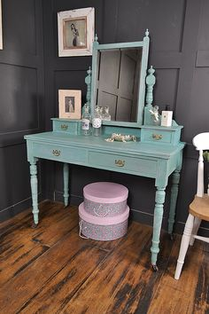 This stunning dressing table really needed a colour boost and that's just what it got, as we painted in Annie Sloan Provence over Louis Blue and sanded back to create a two-tone effect. Finally, we finished with dark wax to give this period piece plenty of chic character! http://www.thetreasuretrove.co.uk/bedroom-storage/shabby-chic-victorian-dressing-table-in-annie-sloan-provence