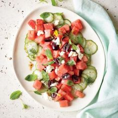 4th of July Side Dishes: Watermelon Salad with Feta and Cucumber Pickles Recipe | CookingLight.com