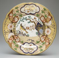 Spode Plate with rocks, flowers, and birds - c,1815