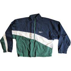 Vintage Blue, Green & White Reebok Windbreaker Jacket Medium... (20.340 CLP) ❤ liked on Polyvore featuring outerwear, jackets, tops, coats, green jacket, wind breaker jacket, blue jackets, blue windbreaker jacket and white jacket