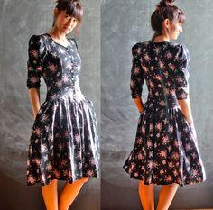 Vintage 1970s Gunne Sax Style Princess Dress Black Pink Flowers and Ribbon All Cotton