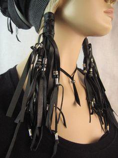 2 cuir noir Ponytail titulaire Wrap Extensions de par Vacationhouse