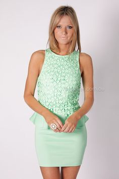 pre order arrives 22nd october clover peplum cocktail - green