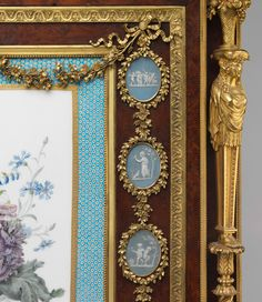 """Details of secretary on a stand (secrétaire à abattant or secrétaire en cabinet)  Attributed to Adam Weisweiler  (1744–1820)   Pottery """"cameos"""" by Josiah Wedgwood and Sons (1759–present)"""