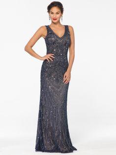 EVENING DRESSES | Navy Beaded Illusion Dress | Caché