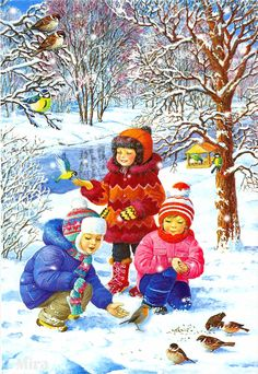 """Winter fun"" by Love Novoselov. Christmas Scenes, Christmas Art, Winter Christmas, Vintage Christmas, Illustration Noel, Christmas Illustration, Illustrations, Winter Images, Winter Pictures"