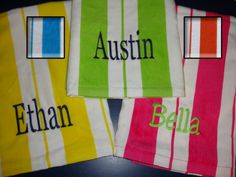 Embroidered Beach Towel by kutekiddo on Etsy, $14.99