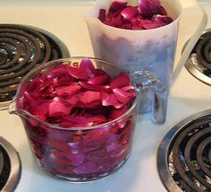 How to Make Rose Water | Rose water, a fragrant floral extract, is used extensively in Middle Eastern and Eastern Mediterranean desserts.  Store bought rose water can be pricey but if you utilize the rose petals from your own garden it can be a inexpensive DIY project.  - Foodista.com