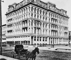 The original Marshall Field Department Store (then called the Field and Leiter Store)at the corner of State and Washington, 1868, Chicago.