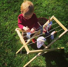 """The child can only develop fully by means of experience in his environment. We call such experiences 'work'."" - Maria Montessori. Montessori Toddler Practical Life Activity: Handmade clothesline by my Father."
