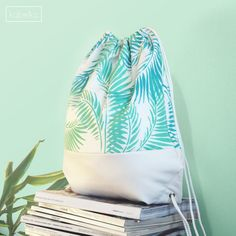 If you don't have time to DIY Drawstring Bag-Backpack-White Faux Leather and Painted Canvas Drawstring Bag-Tasche- حقيبة-Sac-包-Borsa-Cумка-Bolsa-Club Tropicana