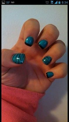 Panthers nails :) my honey would love them