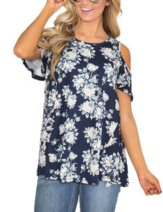 595a4a7a6ca63 ACKKIA Womens Navy Casual Floral Print Cold Shoulder Cut Out Short Sleeve  Blouse Shirt Top Size