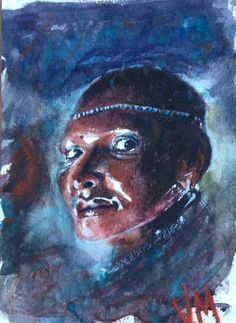 """African woman sketch/ Watercolor Painting Original 7.1/2"""" X 5.1/2"""" NOT A PRINT  