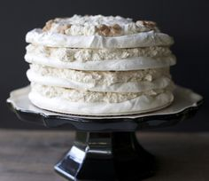 A winter wonderland Chestnut meringue torte. Melt in your mouth layers of chestnut cream and meringue. Bake in advance and serve cold - Google translator on the sidebar