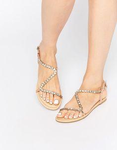 Image 1 ofASOS FLIRTY Embellished Flat Sandals