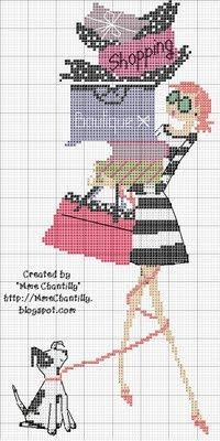 point de croix femme et chien shopping - cross stitch lady and her dog shopping
