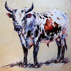 Cow Illustration, Bull Painting, Bull Riders, Cowboy Art, Abstract Landscape Painting, Longhorns, Animal Paintings, My Animal, Windmill
