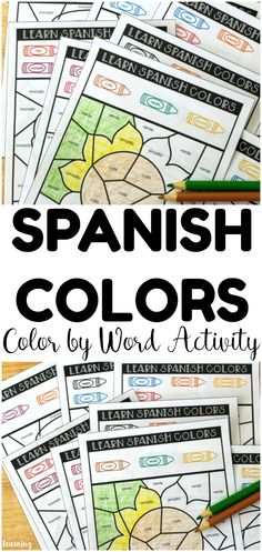 Teach kids how to recognize Spanish color vocabulary words with this fun Spanish color by word activity So fun for early Spanish learners or for use in literacy centers lookwelearn esl spanish spanishactivities learnspanish preschool literacycenters # Preschool Spanish Lessons, Learning Spanish For Kids, Spanish Worksheets, Spanish Lesson Plans, Spanish Activities, Spanish Language Learning, Teaching Spanish, Learning Italian, Kids Worksheets